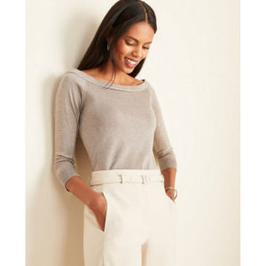 ANN TAYLOR Metallic Off The Shoulder Sweater Top